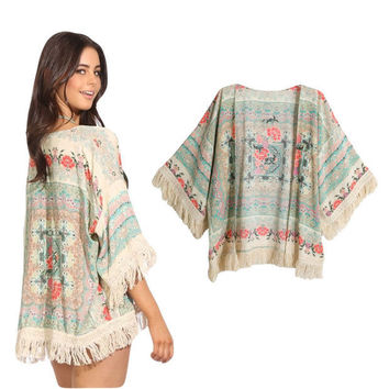 Floral Short Sleeve Cover-up with Fringed Accent