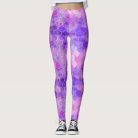 Ultra Violet & Gold Mermaid Scale Pattern Leggings