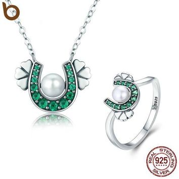 Authentic 925 Sterling Silver Horseshoe Clover Pendant Necklace & Ring Jewelry Sets Gift