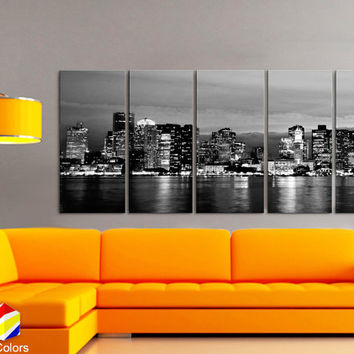 "XLARGE 30""x 70"" 5 Panels Art Canvas Print beautiful Boston Skyline night Black & White Wall Home Office decor interior ( framed 1.5"" depth)"