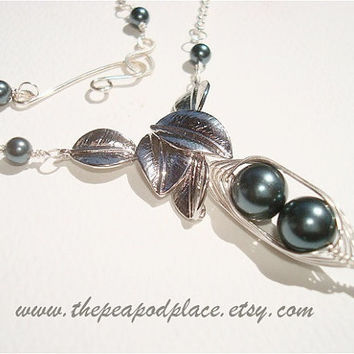 Swarovski Pearl Necklace - Leaf Design - wire wrapped necklace - pick your colors - custom necklace Tahitian look Swarovski Pearls