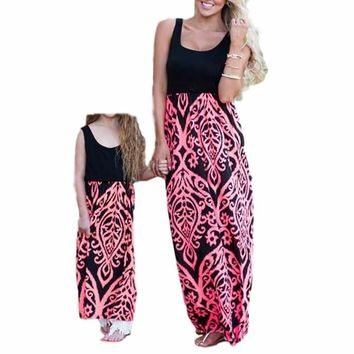 Sweet Black/Pink Mommy and Me Damask Print Matching Maxi Tank Dress  Mom and Daughter
