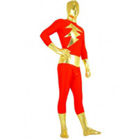 Catsuits & Zentai Full Body Gold And Red Shiny Metallic Lycra Spandex Super Hero Zentai Suit [TSE110276] - $37.99