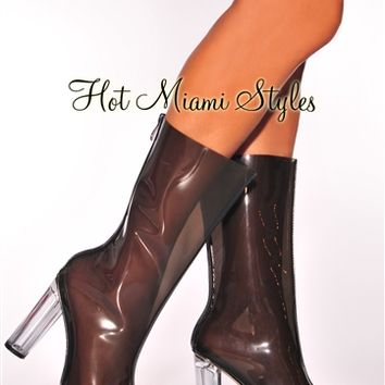 Black Clear High Heel Boots