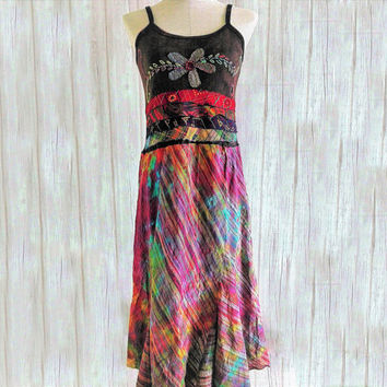 Unique Dress Boho chic Hippie festival clothing embroidered Unique funky  Embellished dress Vegan fashion Handmade gift women art to wear