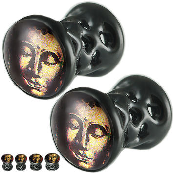 Thai Buddha Logo Double-Flared Plug - Alloy (Black) (Various Gauges) // Set of 2