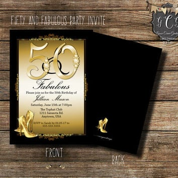 Bling Fifty and Fabulous Invitations, 50th Birthday Invitations,Adult Birthday Invitation,Printable invitations,50th BLING Invitation