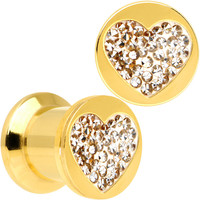 0 Gauge Gold Plated Steel Clear Gem Heart Saddle Stash Plug Set