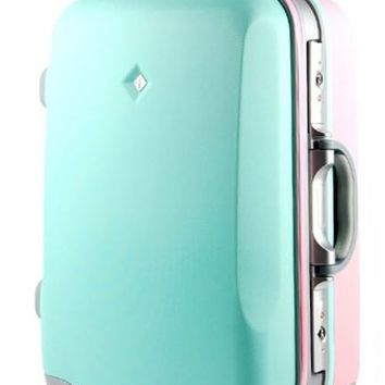 CustomFixie Hard Two-Tone Suitcase 20 Inches Mint And Purple