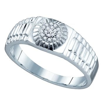 Sterling Silver Mens Round Diamond Cluster Ribbed Ring 1/20 Cttw