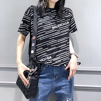 """Balenciaga"" Women Casual All-match Letter Logo Short Sleeve T-shirt Tops Tee"