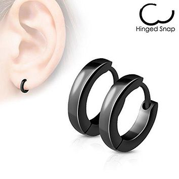 Pair of Small Plain Dome WildKlass Hoop/Huggie Stainless Steel Earrings