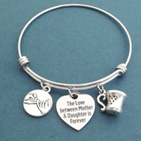 Gilmore girls, The love between Mother & Daughter is Forever, Heart, Pinky, Promise, Coffee, Tea, Cup, Silver, Bangle, Bracelet, Jewelry