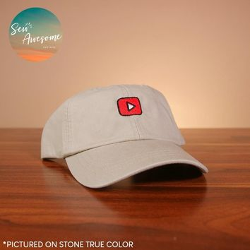 YouTube Dad Hat, Social Media Baseball Cap, Gift For Her, Geek Best Friend Gift, Video Cap, Embroidered Hat