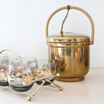 Mid Century Solid Brass Krome Kraft Farber Brothers Ice Bucket, Lever Handle, Pyrex Glass Insert, Deco