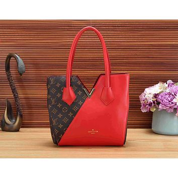 LV Fashion Women Monogram Leather Tote Shoulder Bag Handbag Red I-KSPJ-BBDL