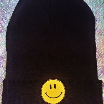 90's Yellow Smiley Face Beanie