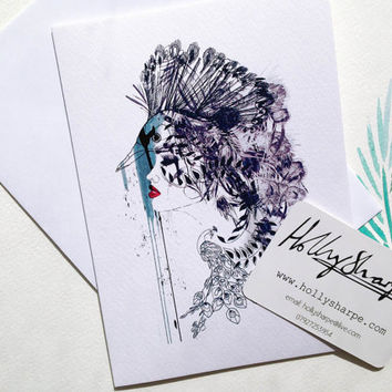 Greeting card with 'Peacock Girl II' illustration  // by Holly Sharpe