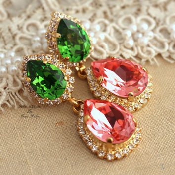 Bridal Chandelier Green Peridot peach salmon pink Classic Swarovski Rhinestone earrings, wedding jewelry- 18k gold post earrings swarovski