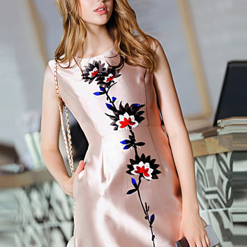 Apricot Sleeveless Floral Embroidered Pockets A-Line Mini Dress