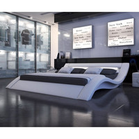 Queen size Modern Platform Bed in Upholstered White Leather