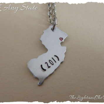 Custom Personalized State Necklace - Choose your state and area code - Hand Stamped Map Jewelry - Gift for Her - Gift for Him - Unisex