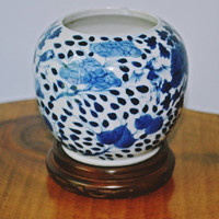 Asian Blue And White Vase,  Asian Brush Pot, Small Vase With Stand
