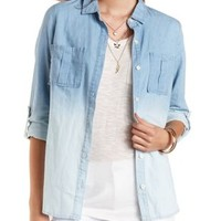 Ombre Chambray Button-Up Top by Charlotte Russe