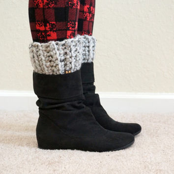 ribbed boot cuffs, boot topper, short boot cuff, winter leg warmers, wool boot cuffs, boot sock / THE HUXLEY / Grey Marble / Wool Acrylic