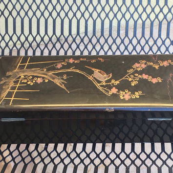 Japanese Lacquer Box, Asian Jewelry Box, Japanese Wooden Box, Black Lacquer Box, Wooden Jewelry Box, Asian Wooden Box, Oriental Wooden Box
