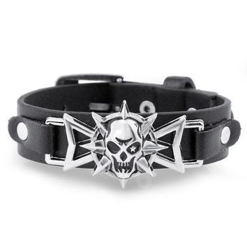 ONETOW 2016 Skeleton Skull Star Eye Punk Gothic Rock Leather Belt Buckle  Bracelets For Women Men Bracelets & Bangles S302