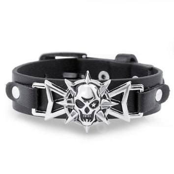 DCCKHY9 2016 Skeleton Skull Star Eye Punk Gothic Rock Leather Belt Buckle  Bracelets For Women Men Bracelets & Bangles S302