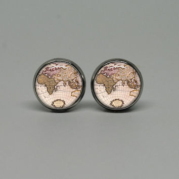 Silver Stud Post Earrings with Vintage Globe