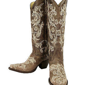 Corral Boots G1027 Brown & White Full Stitch
