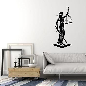 Vinyl Wall Decal Legislation law Firm Office Court Goddess Justice Scales Art Stickers Mural (g1544)