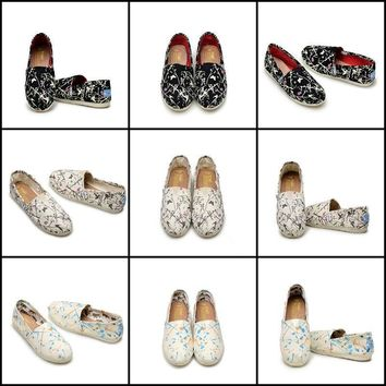 Women Classics Cherry TOMS Loafers Canvas Slip-On Flats shoes