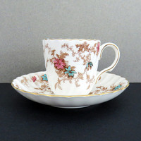 Mintons Ancestral demitasse teacup and saucer - Minton demitasse espresso cup (4 sets available) - English fine bone china