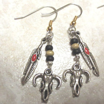 Handmade Buffalo Skull With Feather Earrings With Tan Beads. Native American Style. Spiritual Earrings. Unique Gifts For Her.