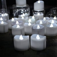 Micandle 24pcs Cool White Flashing Flameless Candles with Timer - 6 Hours on 18 Hour Off - Battery Operated Candles, Flickering Tea Light Candle for Wedding,christmas,halloween Candle and Birthday