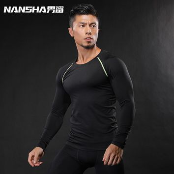 2017 Fashion Men Fitness T-Shirt Mens Compression Base Layers Under Shirts Thermal Top Tees Sweatshirts NANSHA Brand Clothing