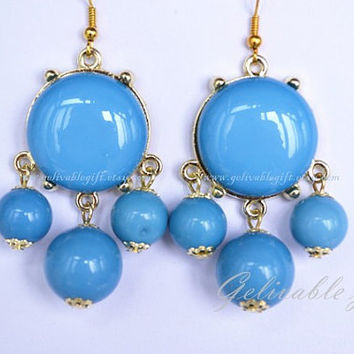Light blue Turquoise Bubble Earrings, Bubble Bib dangle earrings, beadwork statement earrings,Bubble Jewelry EBB02