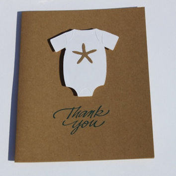Beach Baby Shower Thank You Cards- Starfish Onesuit