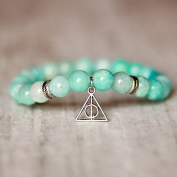harry potter jewelry for girl deathly hallows harry potter charm bracelet turquoise blue bracelet for girlfriend gift for sister amazonite