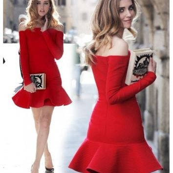 Bqueen Red Elegant Hem Off The Shoulder Long Sleeve Bandage Dress H912