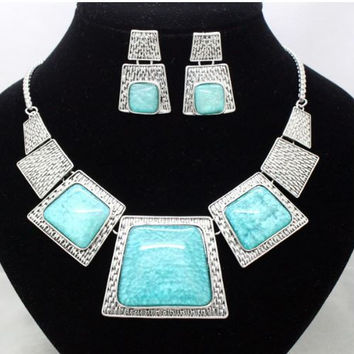 Classic Boho Design - Necklace & Earrings - Large Silver Tone Squares with Inlaid Gems