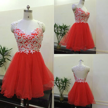 2016 New Short Prom Dresses Graduation Party Homecoming Gown With A Line  Scoop Hollow Back Beads Lace Red Tulle Cheap