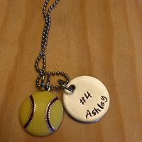 Hand Stamped Necklace Softball Necklace or Softball Mom Necklace with Yellow Softball Charm & Name