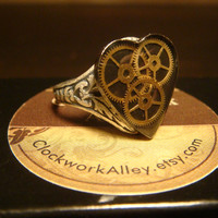 Victorian Style Steampunk Clockwork Heart Gears Ring in Antique Silver- Great Valentines Day Gift (1552)