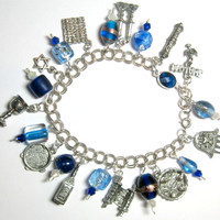 "Beautiful Pesach Charm Bracelet Sterling Chain Links Pewter Charms Passover Jewish 8"" Judaica Seder OOAK"