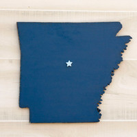 Arkansas state shape sign wood cutout wall art with heart or star 35 Colors. Wedding Guestbook Anniversary Gift Country Cottage Chic Decor